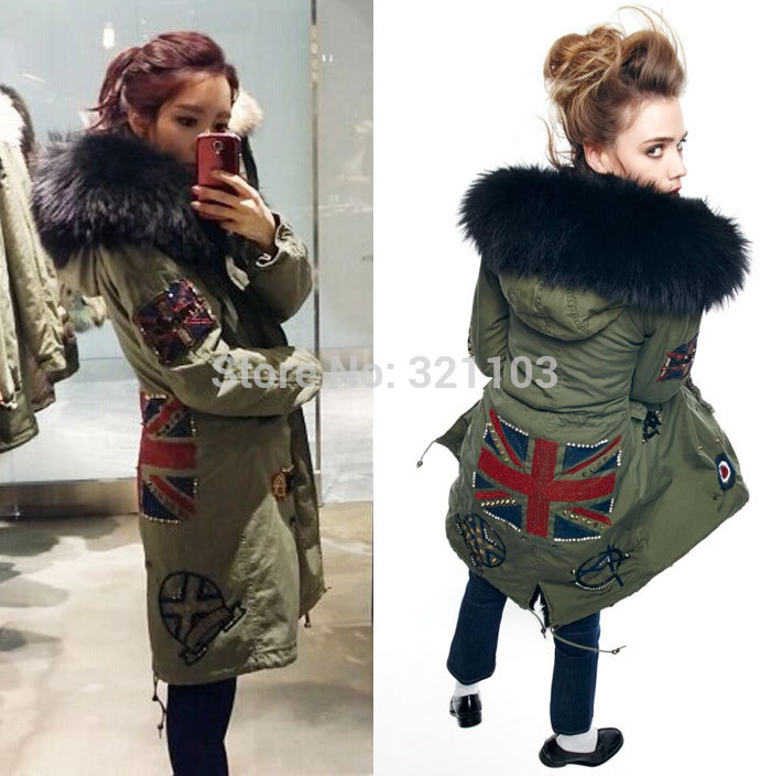 Black removed long style real fur collar parka,Mrs coat Mr beading parka womens winter jackets coats - foxfurs store