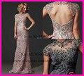 Элегантных женщин розовый серый кружева русалка мать невесты платья крышка втулки открытой спиной крестная платье Vestido ренда-линии LO093