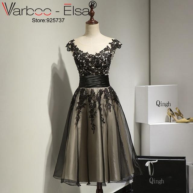 87d0965f647 Vestido De Festa 2018 New Black Formal Gown Sheer Neck Lace Applique A Line  Short Prom Dresses Cheap Dress Party Evening Elegant