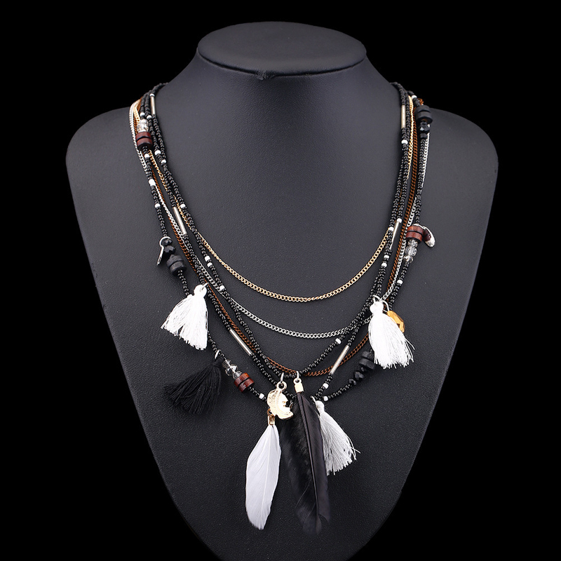 Ожерелья naomy & zp в богемном стиле с разноцветными перьями