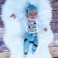 3 pcs Define Primavera Roupas Meninas Do Bebê Recém-nascido 2017 de Comprimento Total impresso Romper + Calças Infantis Roupas de Bebê de Algodão Crianças Menina vestir