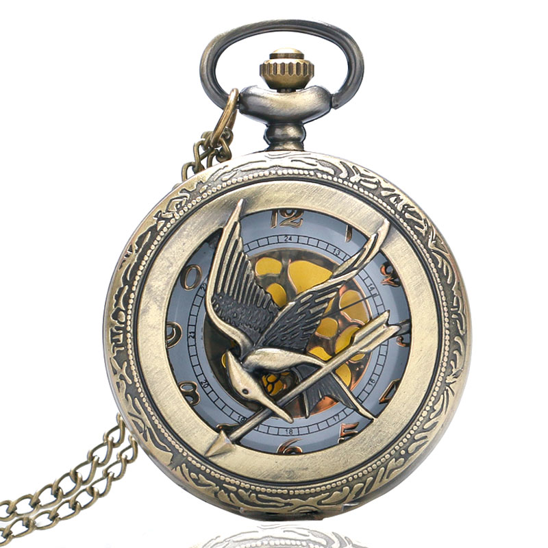 Vintage Bronze Naruto Fullmetal Luffy Hunger Games Quartz Necklace Pendant Pocket Watch Chain Luxury Gifts For Men Women Kids