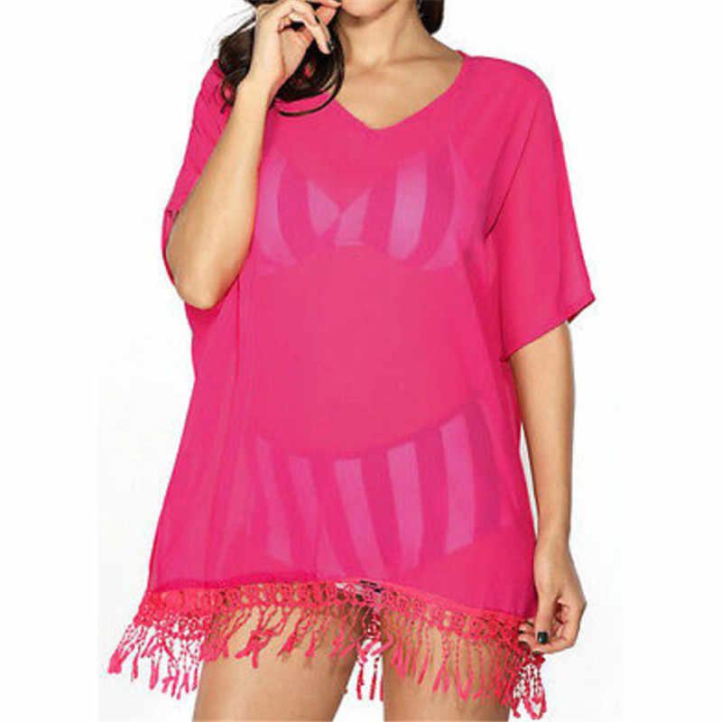 dbb2bd423d Women Sexy Tassel See-Through Crochet Tunic Beach Cover Up Swimwear Summer Bikini  Cover Up