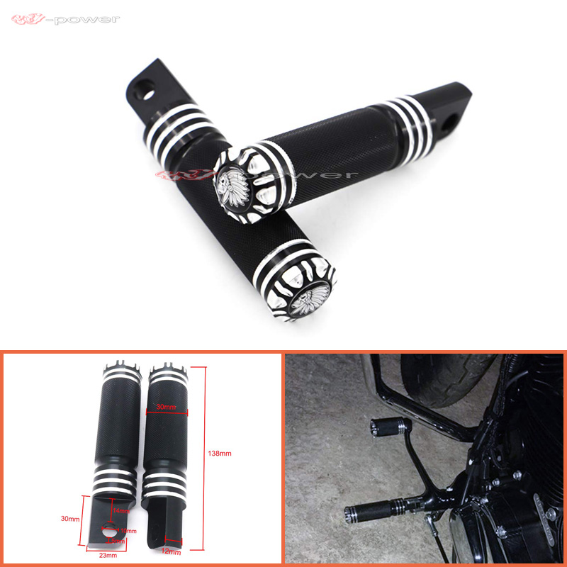 BLACK Skull Foot Pegs Footrest Kit For Harley Touring Softail Dyna Sportster