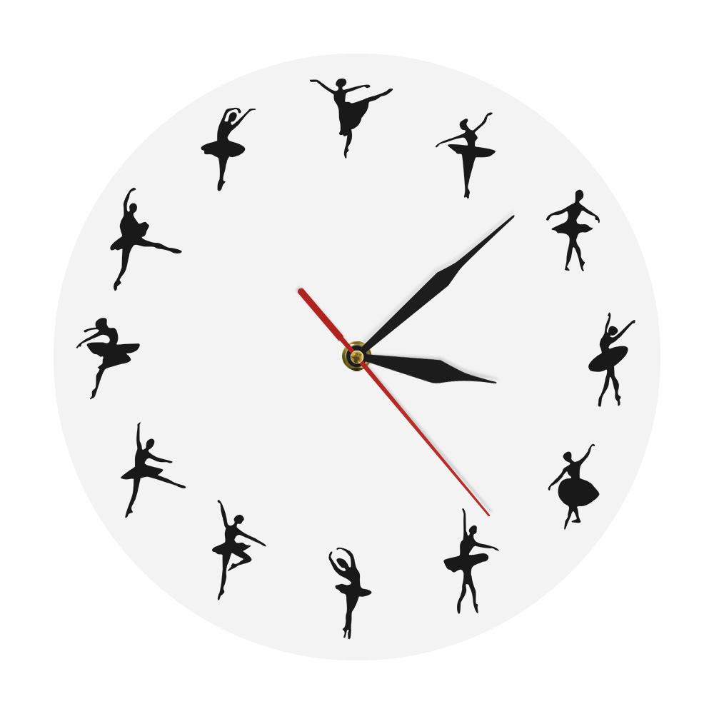1 Piece Personalised Ballerina Dancer Clock Dancing Girls Silhouette Wall Clock Unique Iconic Clock Modern Home Decor
