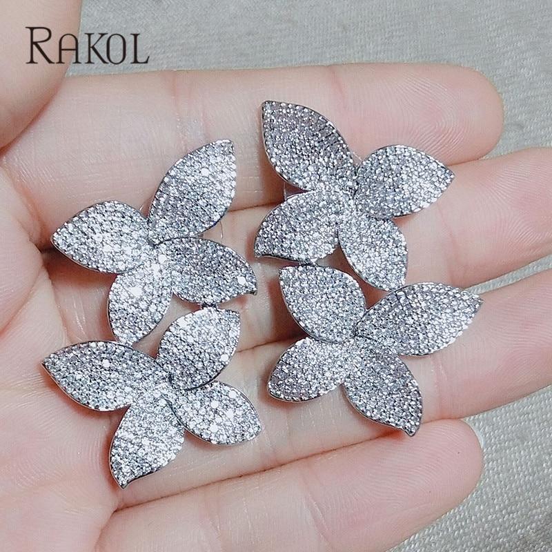 Active Rakol New Fashion Luxury Cubic Zirconia Crystal Micro Inlay Leaf Earrings Set For Elegant Women Wedding Dinner Dress Jewelry