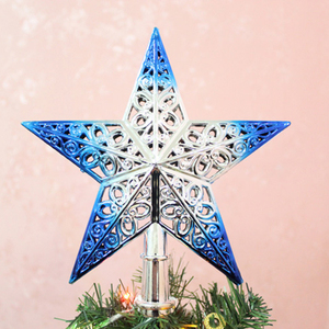 Image 4 - Cute Colorful Star Christmas Tree Top hollow five pointed stars Sparkle Hang Xmas Decoration Ornament Treetop Topper Dimensional