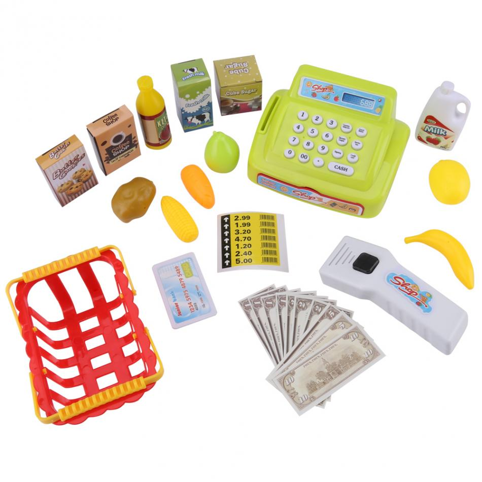 Electronic Cash Register Kit Children Kids Early Educational Toy Christmas Gift Pretend & Play Playset for Baby Kids Gift