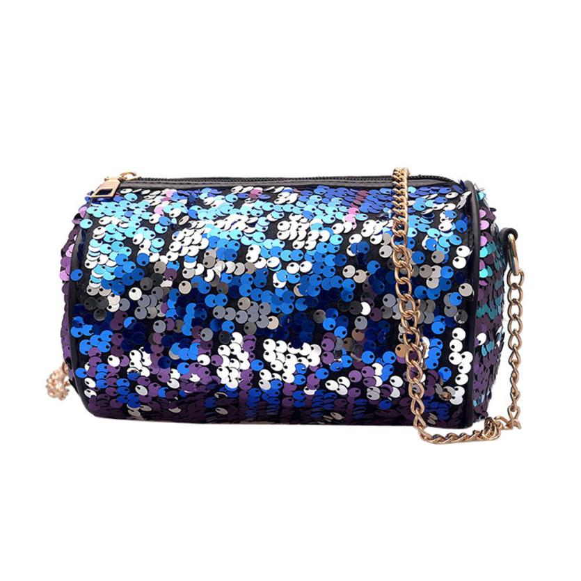Messenger Bag Design Flap Women Sequins Leather Bag Solid   Handbag Coin Crossbody Shoulder Bags 4.12