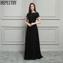 BEPEITHY Naujas dizainas Vestido De Festa Longo juodos marškinėlių juodos spalvos sekliai Auskarų linija ilga motina nuotakos suknelių 2018