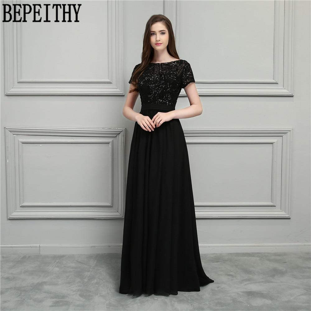 BEPEITHY Nuevo Diseño Vestido De Festa Longo Scoop manga corta - Vestidos de fiesta de boda