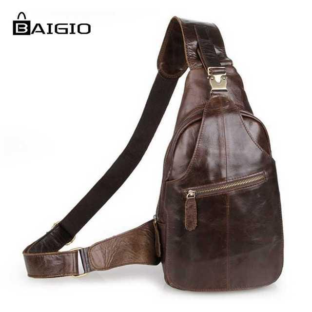 Baigio cinta saco de peito de couro genuíno dos homens saco de ombro único back brown estilo vintage mensageiro crossbody bag homens peito packs