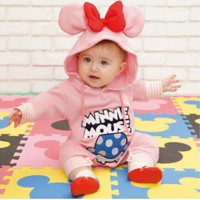 Cute Baby Minnie Mouse Rompers Baby Boys Girls Mickey Jumpsuit Romper  Cotton Long Sleeve Baby Hoodie For Autumn Winter 1cf071323342