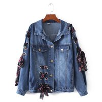 Europen Style Turn Down Collar Lace Up Bowknot Denim Jacket Loose Women Jean Jacket Coat Fashion