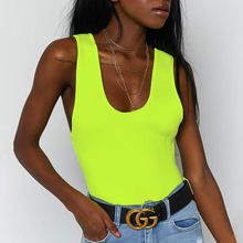 High quality neon green sexy high waist backless tank top solid color fluorescent rompers womens  jumpsuit fashion spring and su