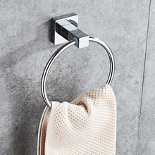 Smile Monkey 304 Stainless steel square base towel ring bathroom hand holder Bathroom hardware accessories