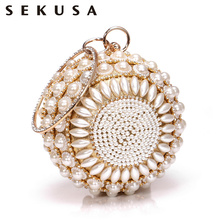 SEKUSA Beaded Diamonds Women Day Clutches Rhnestones Pearl Evening Bag Circular Shaped Chain Shoulder Handbags For Party Purse