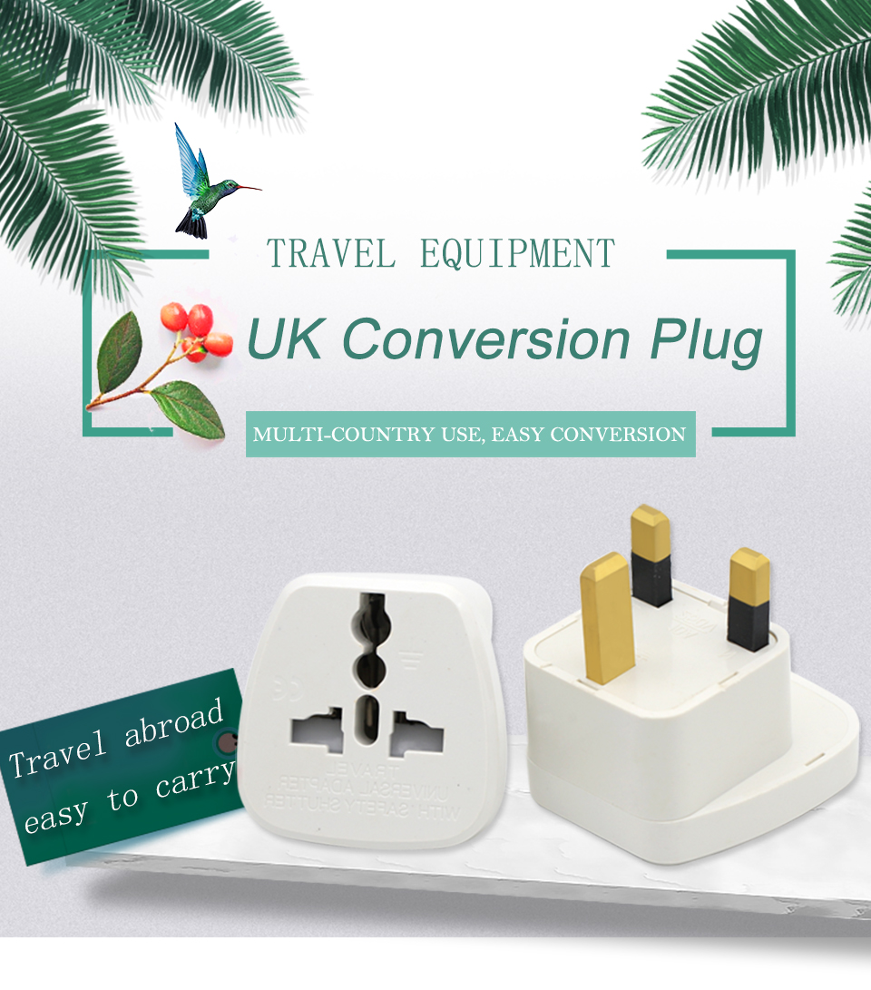 Universal EU US AU to UK AC Power Socket Plug Travel Charger Adapter Converter White ABS Electric Plugs For Mobile Phone Laptop (1)