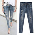 Korean Fashion Cartoon Decals Stretch Jeans Women Blue High Waist Denim Pant Ripped Jeans Female Torn Jeans Plus Size 5XL 2016