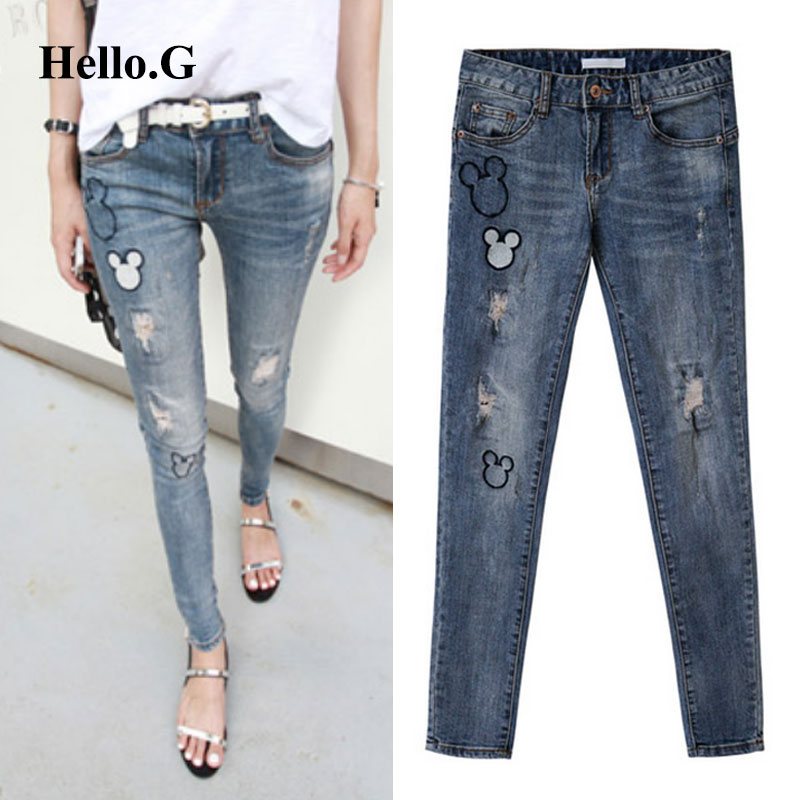 Popular High Waist Torn Ripped Jeans for Women Light Blue-Buy ...