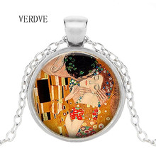 VERDVE brand necklace by Gustav Klimt kisses Klimt art jewelry romantic Valentine's Day gift lover gift gustav klimt drawings