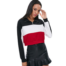 ZAFUL Fashion Casual Crop Top Sweatshirts Drop Shoulder Sweatshirt Half Zip Long Sleeve Color Block Crop Sweatshirt Women цена и фото