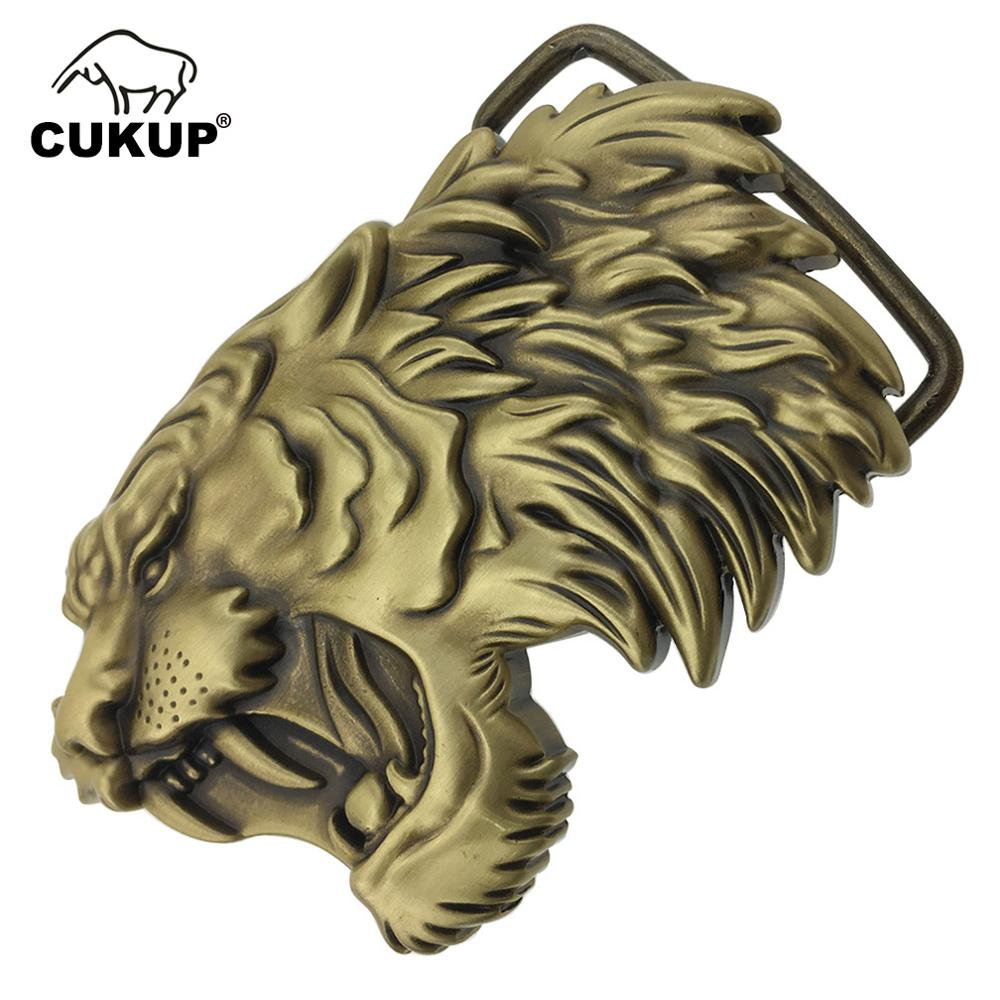 CUKUP 2018 DIY 3D Lion Head Brass Belt Buckles Chinese Style New Designer Brand Belts Buckle Zodiac Youth Wind 1pc Retail BRK029