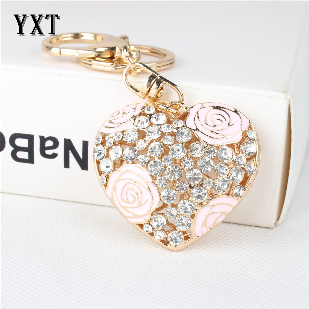 ④Pink LOVE Heart Rose Flower New Cute Crystal Charm Pendant Purse ...