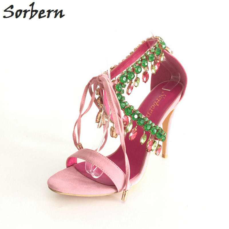 Pink Rhinestones Slingback Women Sandals Crystal Straps Open Toe Sandals For Party Shoes Plus Size US4-15 Women Shoes Sandal stylish rhinestones and black design sandals for women