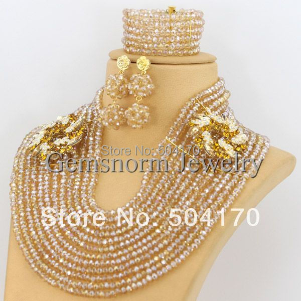 2017 Champagne Gold African Beads Jewelry Set New Arabic Indian