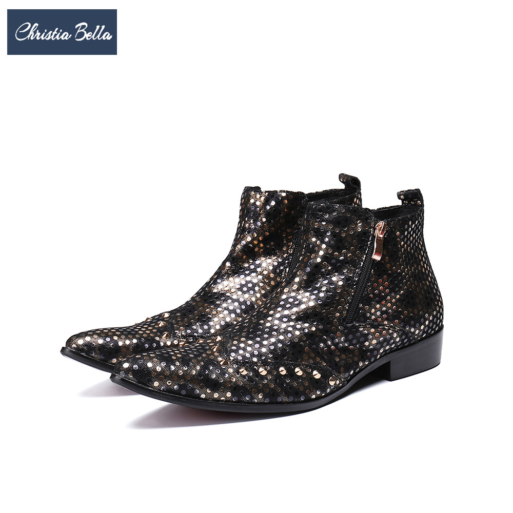 Christia Bella Fashion Gold Dot Men Ankle Boots Genuine Leather Pointed Toe Cowboy Boots British Wedding Party Men Dress Shoes christia bella men pointed toe genuine leather slip on british formal dress shoes vogue summer slippers oxfords plus size 38 47