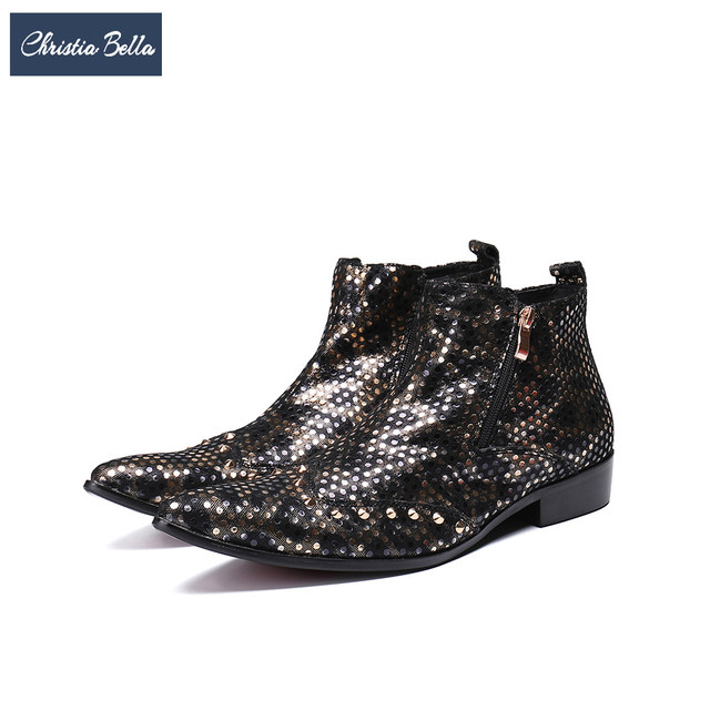 Christia Bella Fashion Gold Dot Men Ankle Boots Genuine Leather Pointed Toe Cowboy Boots British Wedding Party Men Dress Shoes