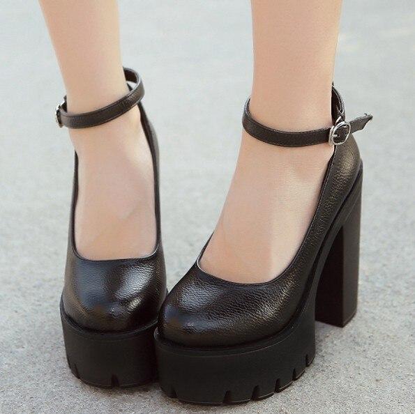 Popular White Chunky Heel Platform Ankle Strap-Buy Cheap White ...