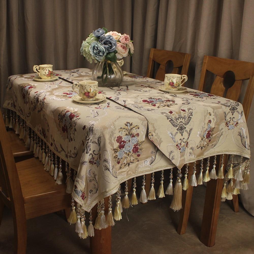 Curcya Tafelkleed Luxe Chenille Jacquard Bloemen Klassieke Tafelkleed Elegante Bruiloft Banket Decoratieve Beige Tafelkleed