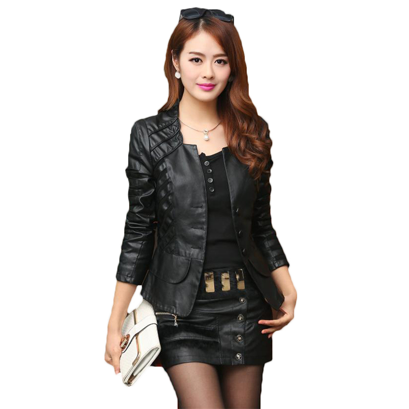 2018 Spring Autumn PU   Leather   Jacket Women Casual Long Sleeve Faux Short Coat Plus Size Female Mosaic Bomber Outwear Cheap A159