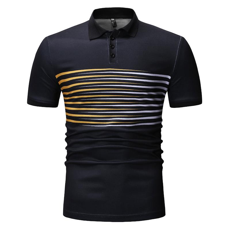 Male   Polo   Shirt Striped Business Casual Men's   POLO   Shirts Fashion Men Clothes Tops Tees Navy Blue Black