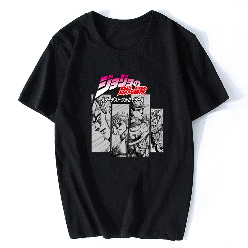 Jojos Bizarre Adventure Vintage Men Manga T-shirt Harajuku Streetwear Cotton Camisetas Hombre Men Vaporwave Japan Anime Shirt