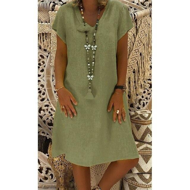 New Summer Casual V-Neck Short Sleeved Cotton Linen Dress Women Loose Plus Size Ladies Dress 5.23 6