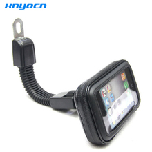 Motorcycle Mobile Phone Holder Stand for iPhone 4 5S 6 Plus GPS motor Rear View Mirror Mount + Waterproof Bag soporte movil moto
