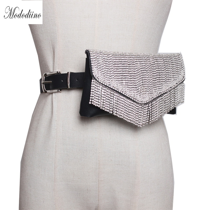 Mododiino Woman Waist Bag Tassel Belt Bags Fanny Pack Design Brand Belt Packs Handy Bling Rhinestone Phone Envelope Bag DNV0883