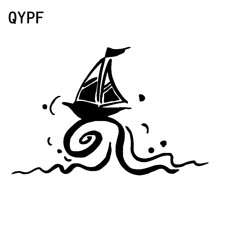 QYPF 17.1cm*11cm Clear Delicate Sailing Boat Encounter Big Waves Topple Under The Wind Vinyl Car Sticker Vivid Decal C18-1006