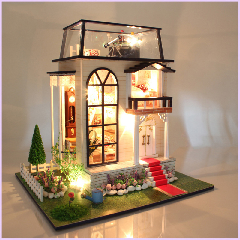 DIY DollHouse Miniature With Furnitures LED Light Wooden Doll House Model Toys Creative Gift The Princes Rose 13837 #D