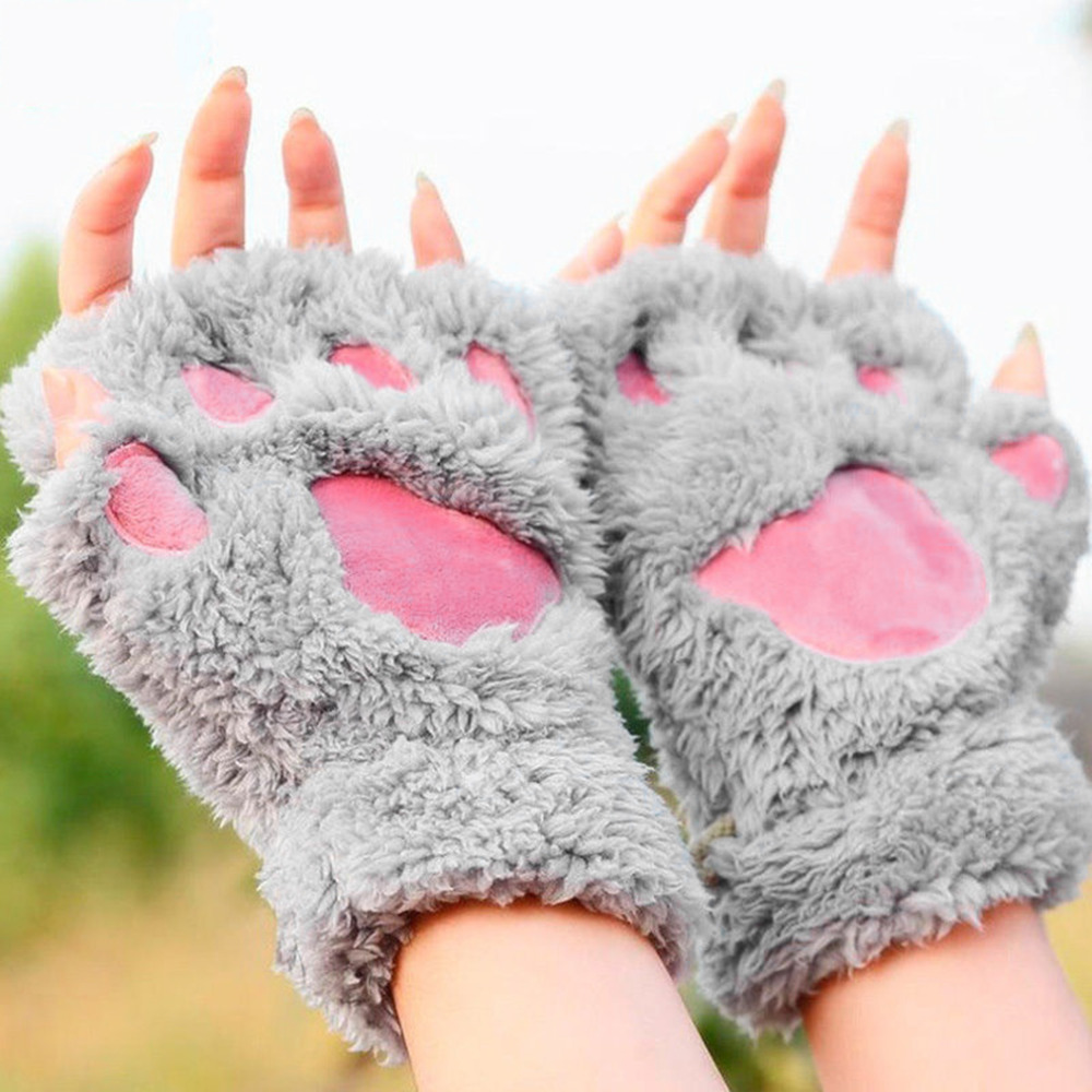 1 Pair Warmth Fingerless Plush Gloves Fluffy Bearr Claw / Cat Animal Paw Soft Warm Lovely Cute Women Half Finger Covered Gloves