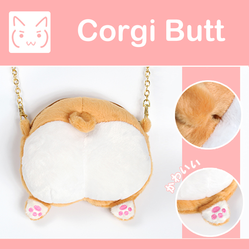 MSMO Chibi Corgi Butt font b CrossBody b font font b Bag b font Small Cute