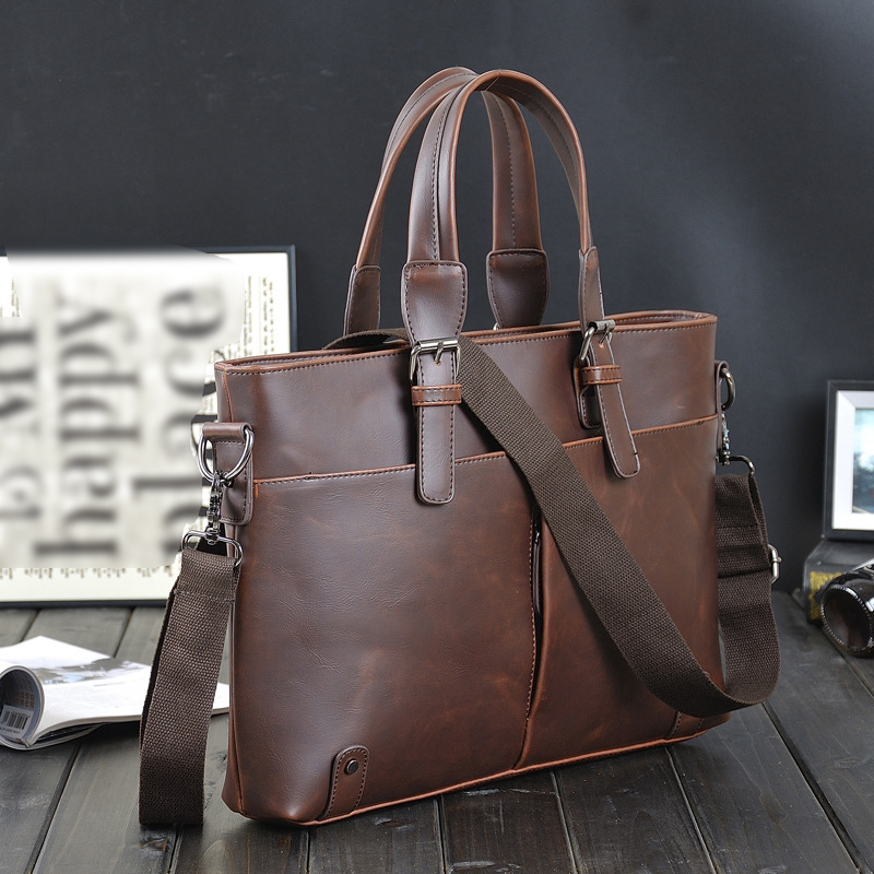G-FAVOR Laptop Handbag Men Crazy Horse Leather Business Briefcase Male Retro Casual Soft Messenger Bag Briefcases