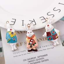 6pcs/lot Alice Rabbit Enamel Charms Bracelet Fit DIY Oil Drop Gold Alloy Pendant Charm Earring Jewelry Accessories YZ123