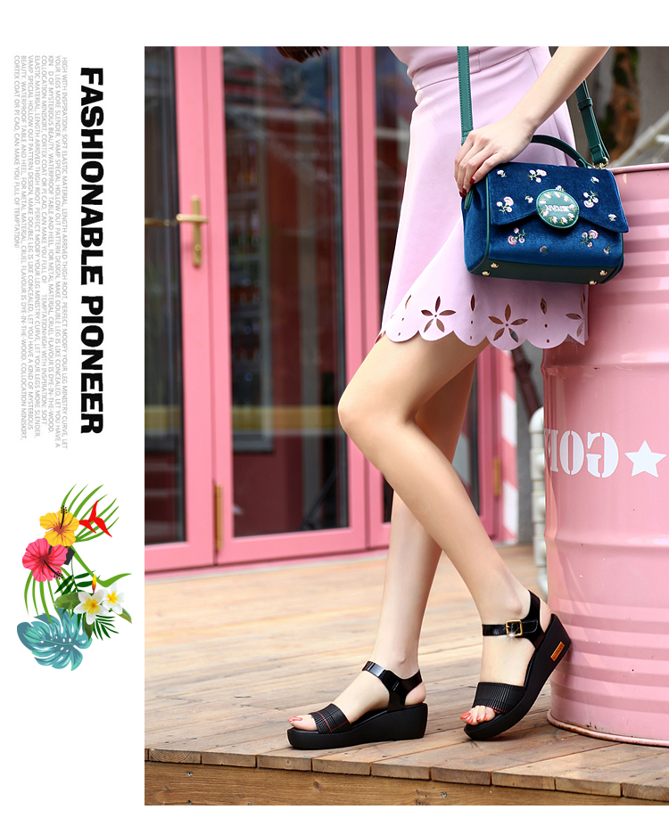 Sandals Female Summer Flat 2019 New Wild With High Heel Wedges Comfortable Non-slip Soft Bottom Pregnant Women Mother Shoes 60