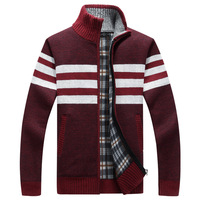 2018 New Winter Mens Sweater Brand Fashion Stand Collar Loose Zipper Fleece Casual Sweatercoat Men Thicken Sweater Coat AF1386