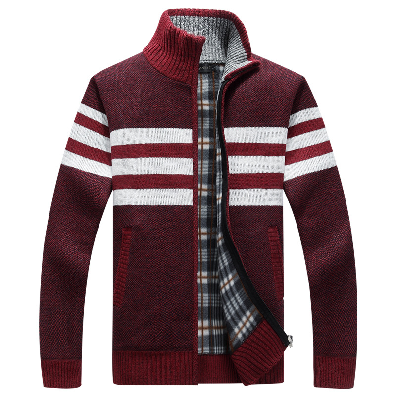 Winter Men's Sweater Male Stand Collar Loose Zipper Fleece Casual Knitted Coat Men Thicken Cardigan Coat AF1386