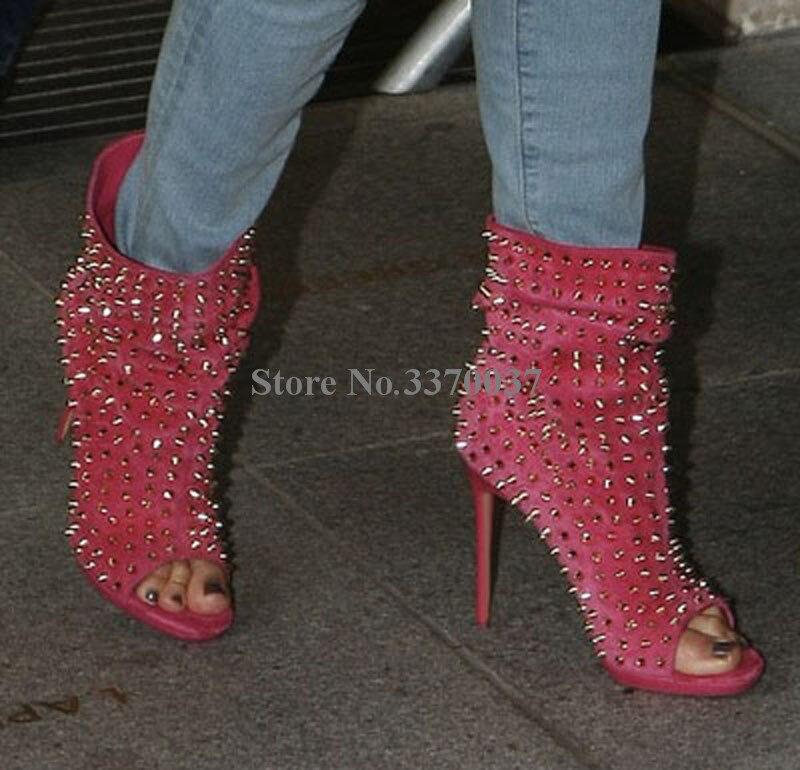 Venda quente moda feminina peep toe camurça couro rebite de ouro salto fino botas gladiador curto deslizamento on sexy ankle booties - 4